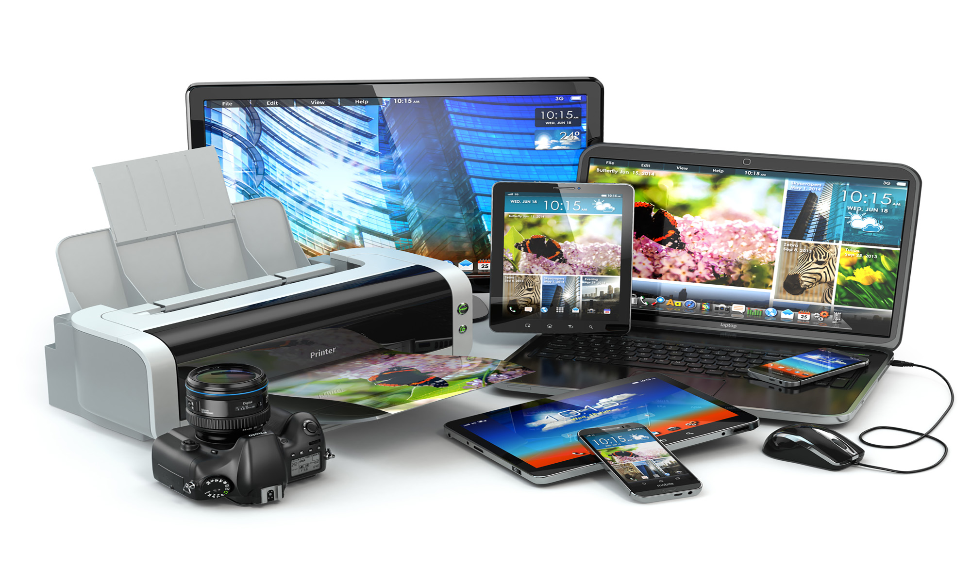 Nieuwe laptop, smartphone, tablet, Ipad of printer.